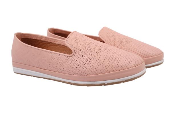 Туфли женские на низком ходу из натуральной кожи, розовые Estile Турция