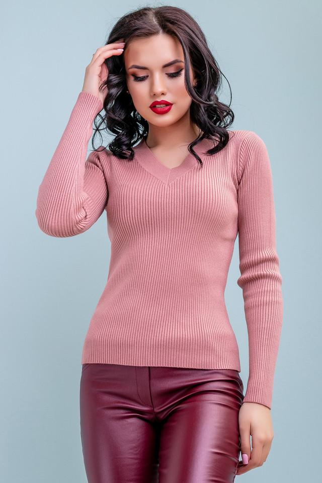 Женский повседневный пуловер, розовый, классический, офисный, молодёжный свитер