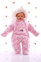 Зимний комбинезон человечек розовый в пуговку, фото 1