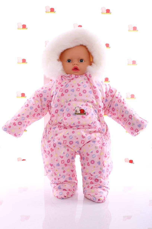 Зимний комбинезон человечек розовый в пуговку
