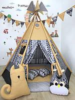 Детский вигвам «Типпи» коврик 170*170+подушка