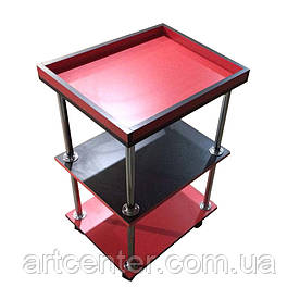 Тележка передвижная  красно-черного цвета для офиса, дома, салона красоты