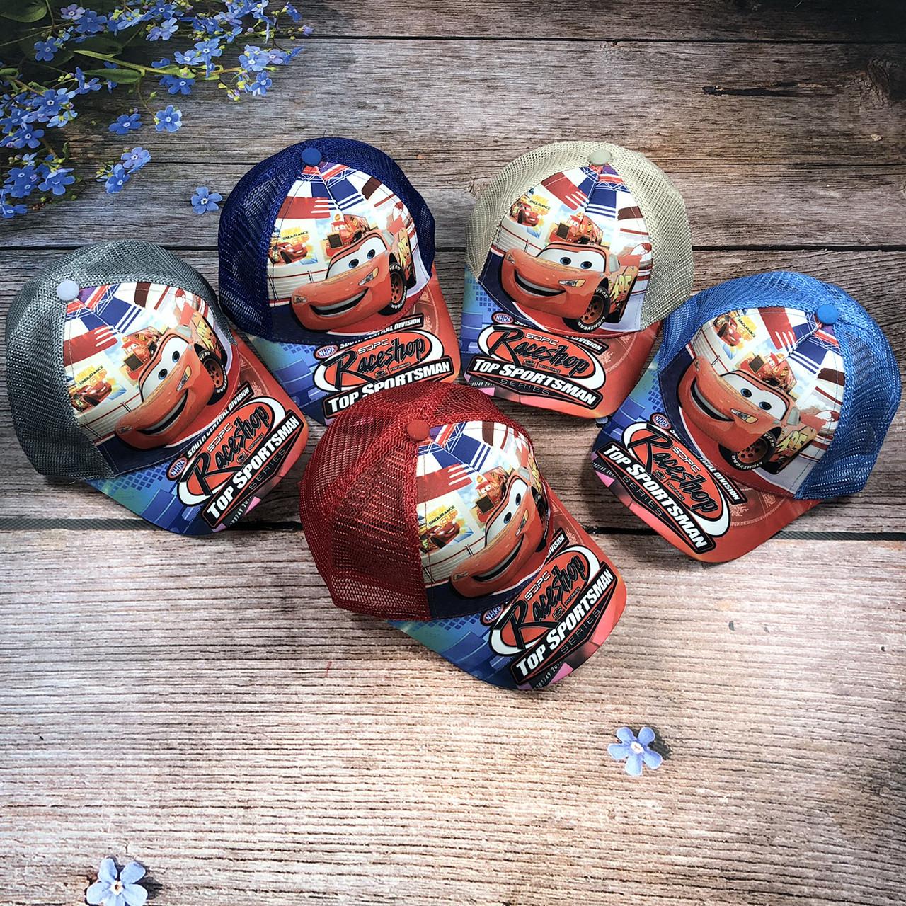 """Кепка """"Тачки"""" с сеткой (объём 52 см) (голубая, серая, красная) (2014)"""