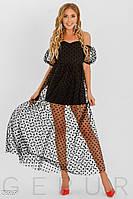 Черное платье мини с прозрачной сеткой в пол