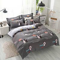 """Комплект постельного белья """"Пес"""" с простынью на резинке (двуспальный-евро)"""