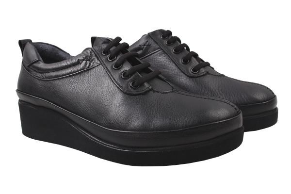 Туфли женские на танкетке Ripka натуральная кожа, цвет черный, Турция.