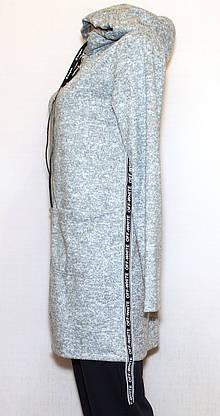 Кардиган молодежный серый с капюшоном 125, фото 2