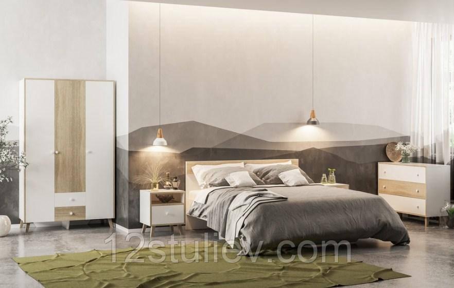 Спальня Еріка (Шафа, ліжко 160, 2 тумби, комод, дзеркало ) Біла / Сонома