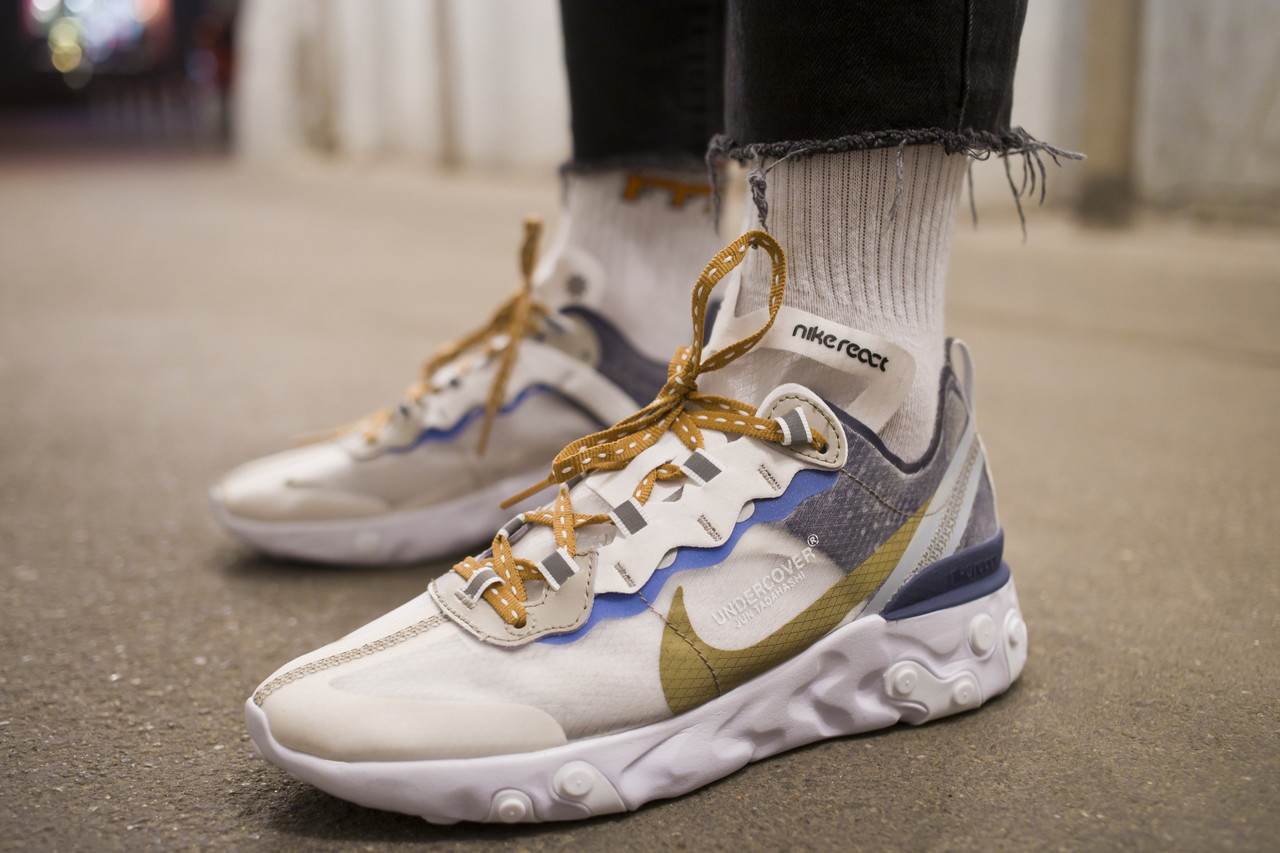 04cbe459 Мужские кроссовки Nike React Element 87 x Undercover White Cream ( Реплика )