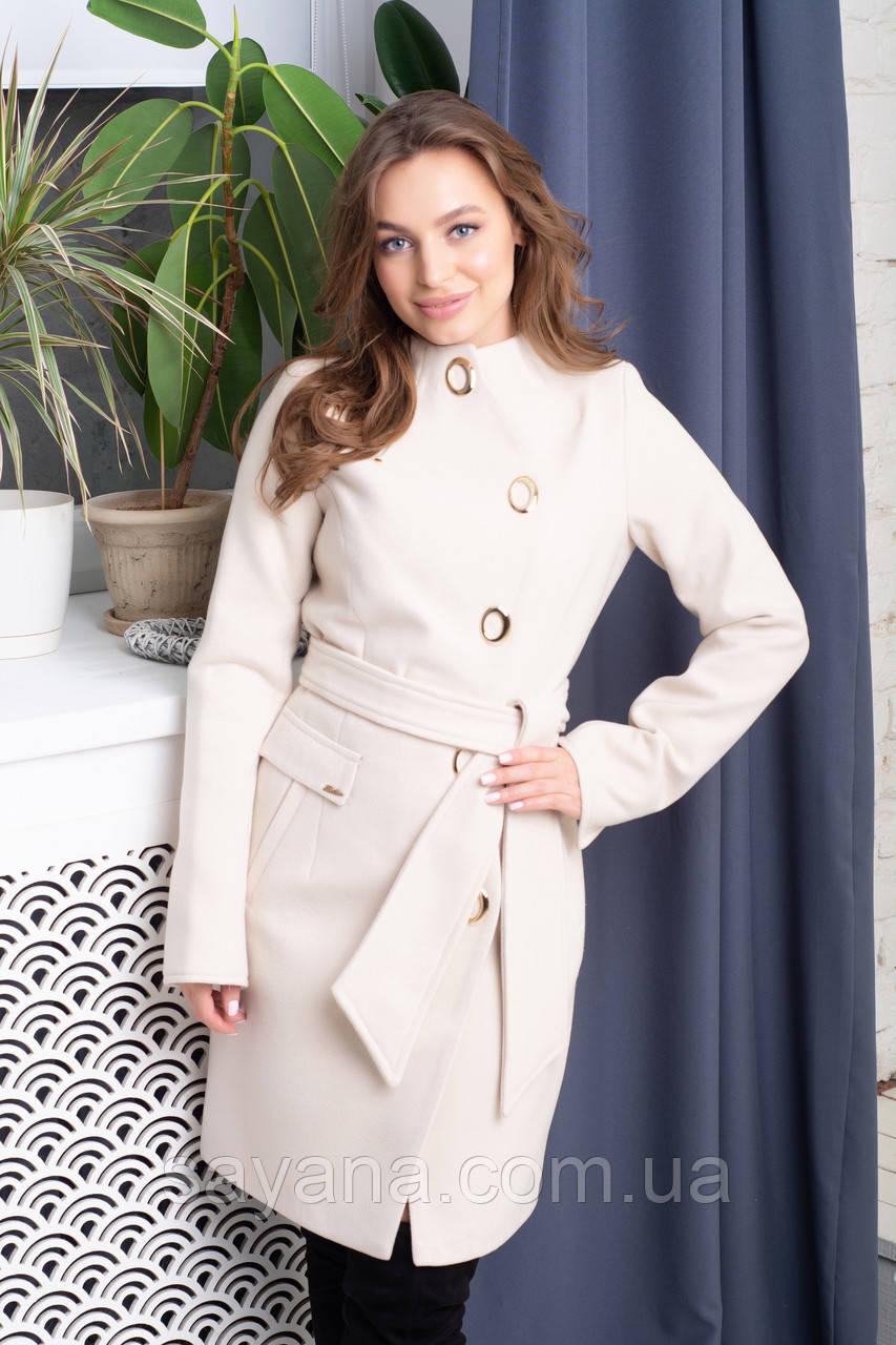 Женское кашемировое пальто с декором, 4 цвета. Т-7-0817