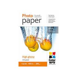 ColorWay глянцевая фотобумага 200гр, 13x18, 100 листов
