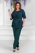 """Летний брючный женский костюм """"LORA"""" с блузой (большие размеры), фото 2"""