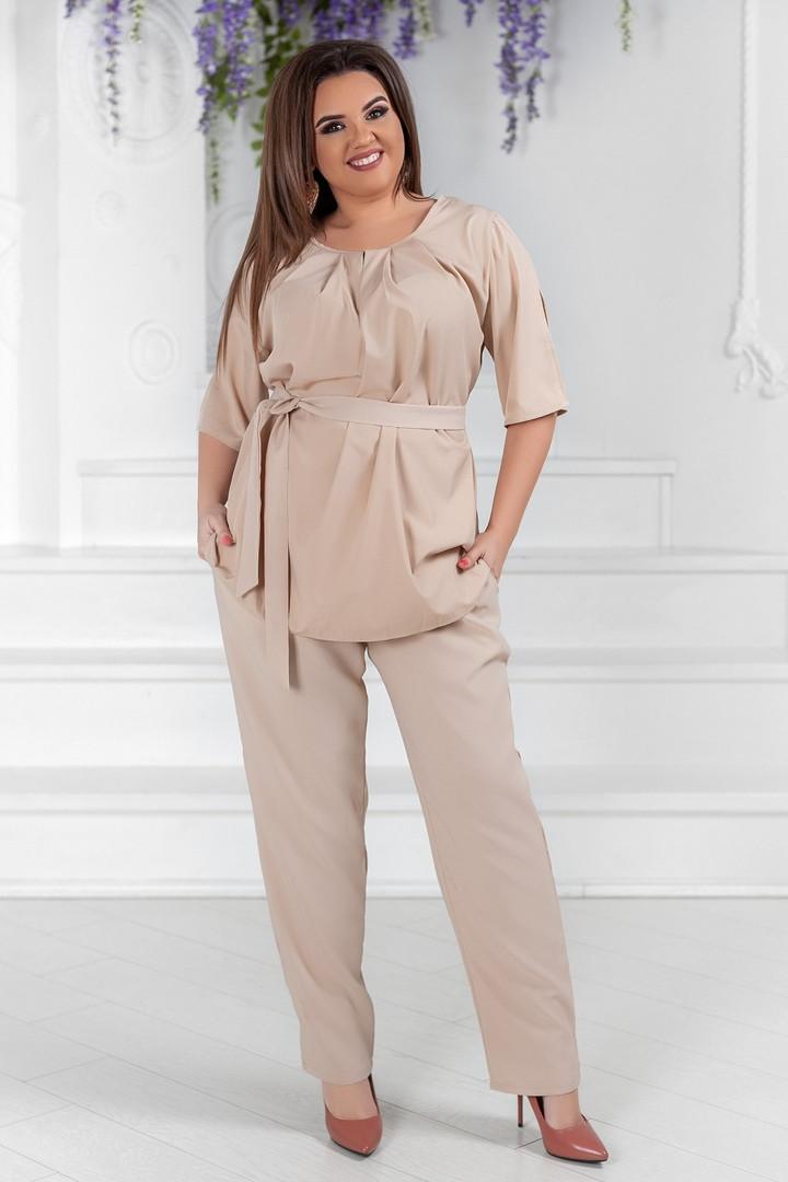 """Летний брючный женский костюм """"LORA"""" с блузой (большие размеры)"""