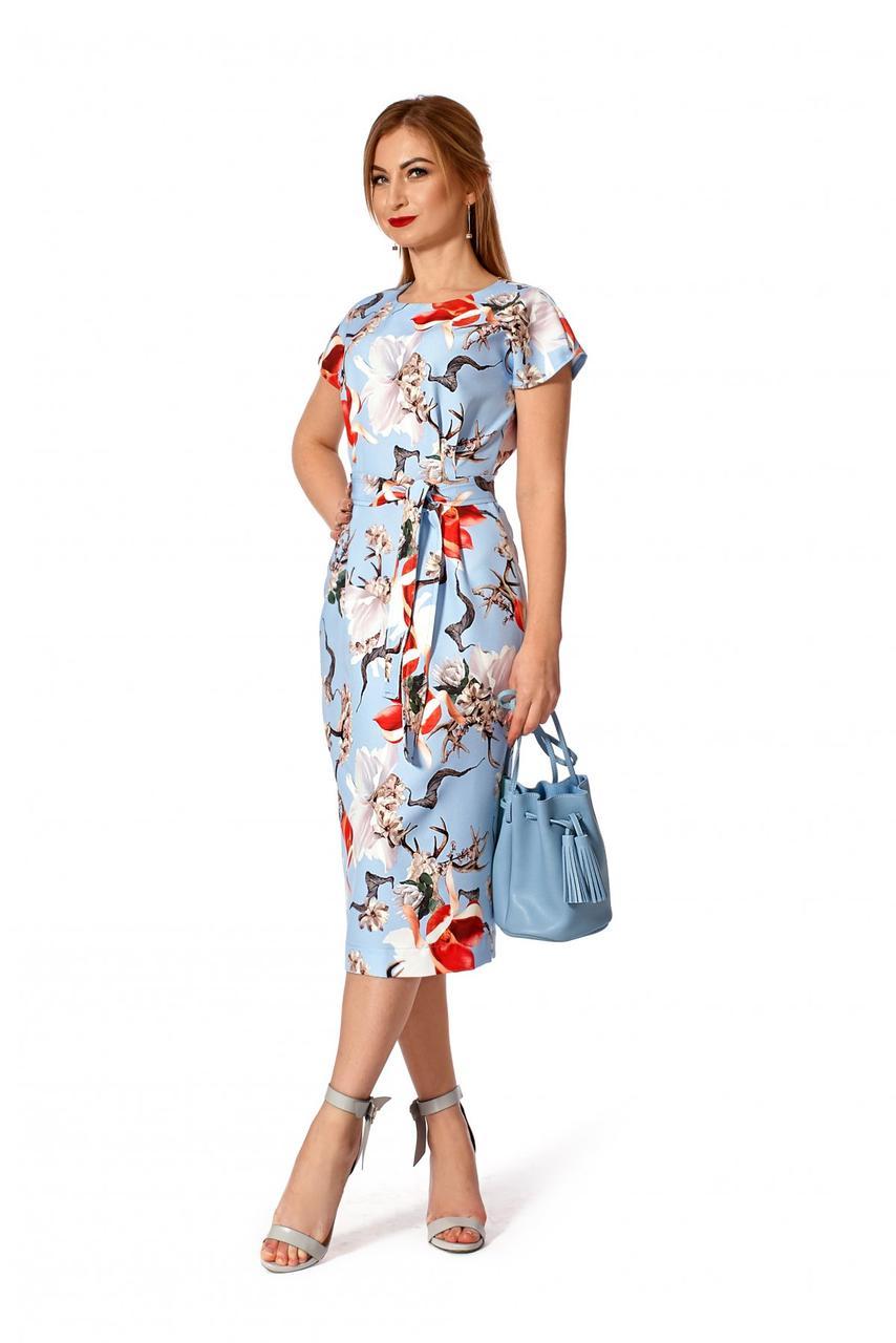 Платье 1143.1 цветочный принт цвет голубой