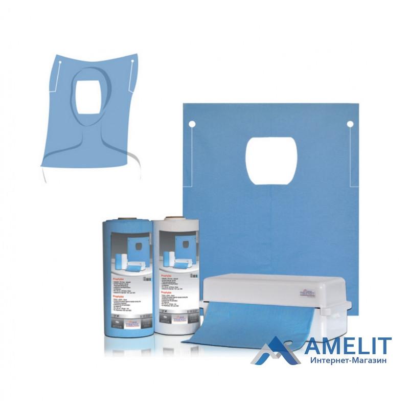 Серветки стоматологічні з прорізом для особи, 60х54см, блакитні, №60165 (Thienel Dental), 40шт./рулон