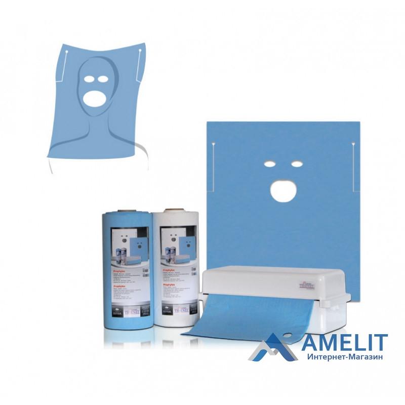 Салфетки стоматологические с прорезью для рта и глаз, 60х54см, голубые, №60166 ( Thienel Dental),40шт./рулон