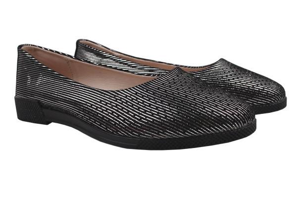 Туфли женские на низком ходу, натуральный сатин, черные, Vensi.