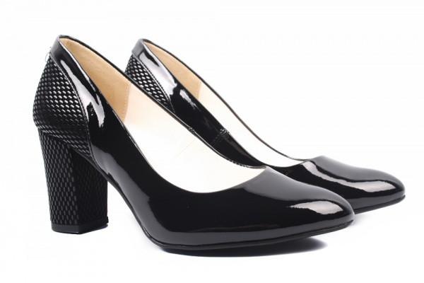 Туфли женские на каблуке из экокожи лаковые, черные,Zan Zara Польша.