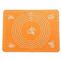 Силиконовый коврик 64х45 см для раскатки теста, коврик для запекания,  коврик для теста с разметкой, оранжевый