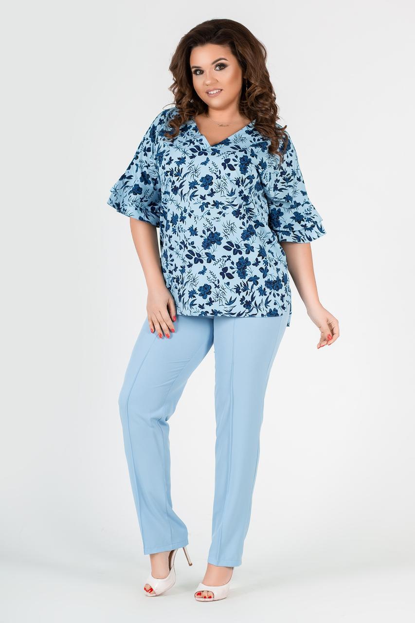 """Летний женский брючный костюм  """"Неаполь"""" с блузой в цветочек (большие размеры)"""