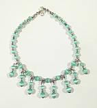 Комплект украшений Кошачий глаз - колье + браслет, натуральный камень, цвет мятный, тм Satori \ Sn - 0046, фото 3
