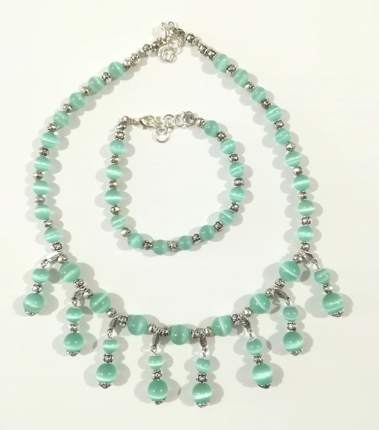 Комплект украшений Кошачий глаз - колье + браслет, натуральный камень, цвет мятный, тм Satori \ Sn - 0046