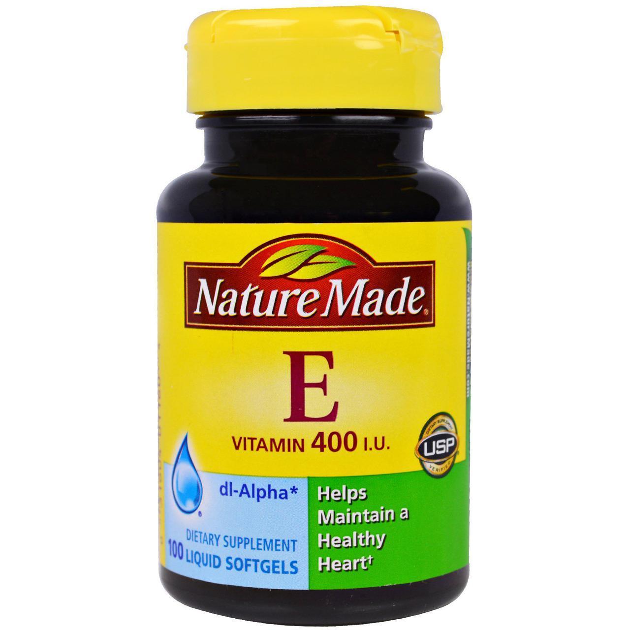 Nature Made, Vitamin E, 400IU, dl-Alpha, Витамин Е 100 Liquid Softgels