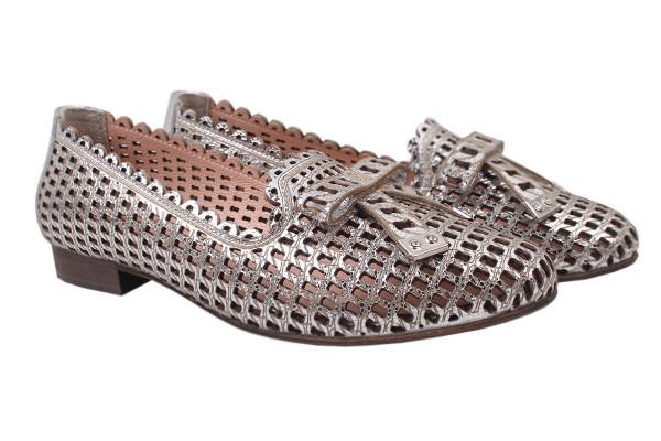 Туфли женские летние на низком ходу Aquamarin Турция натуральная кожа, цвет серебро