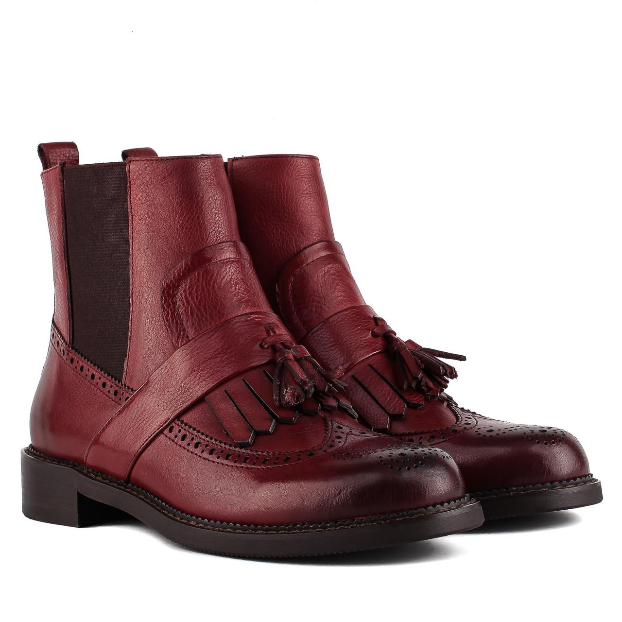 Ботинки женские DJOVANNIA (бордового цвета, стильные, кожаные, модные)