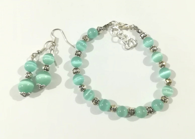 Набор украшений браслет + серьги из Кошачьего глаза, натуральный камень, цвет мятный, тм Satori \ Sn - 0047