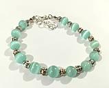 Набор украшений браслет + серьги из Кошачьего глаза, натуральный камень, цвет мятный, тм Satori \ Sn - 0047, фото 2