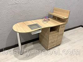 Маникюрный столик с мощной вытяжкой, дуб сонома