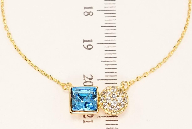 """Колье ХР Позолота 18К с кристаллами Swarovski """"Круг Цирконий и Голубой Квадратный Кристалл"""" длина 43-48 см"""