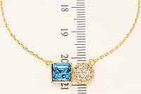 """Колье ХР Позолота 18К с кристаллами Swarovski """"Круг Цирконий и Голубой Квадратный Кристалл"""" длина 43-48 см, фото 1"""