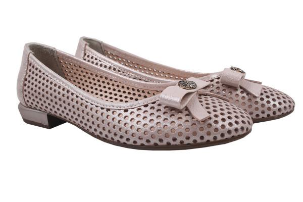 Туфли комфорт женские летние на низком ходу Destino натуральный сатин, цвет розовый