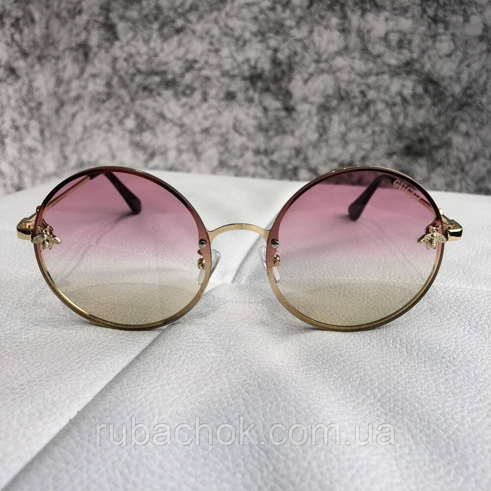 Gucci Sunglasses Circle with Bee Gold / Light Pink