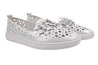 Туфли-балетки женские летние Oeego натуральный сатин, цвет серебро