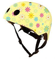 Шлем детский Kiddy Moto размеры S-M Желтый с цветами