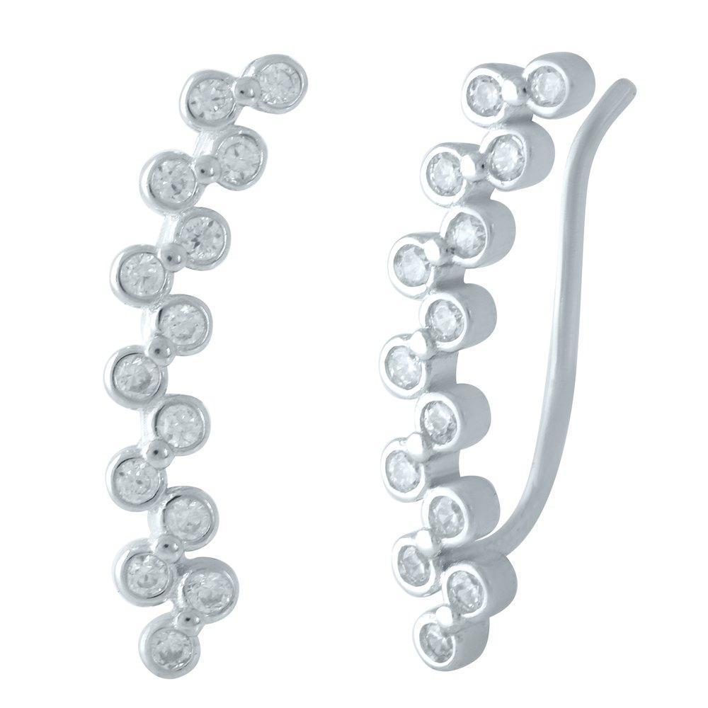 Родированые серебряные серьги 925 пробы с фианитами
