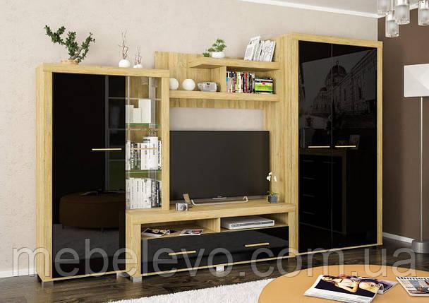 Гостиная  Неон 2 2180х3400х605мм Мебель-Сервис Черный глянец, фото 2