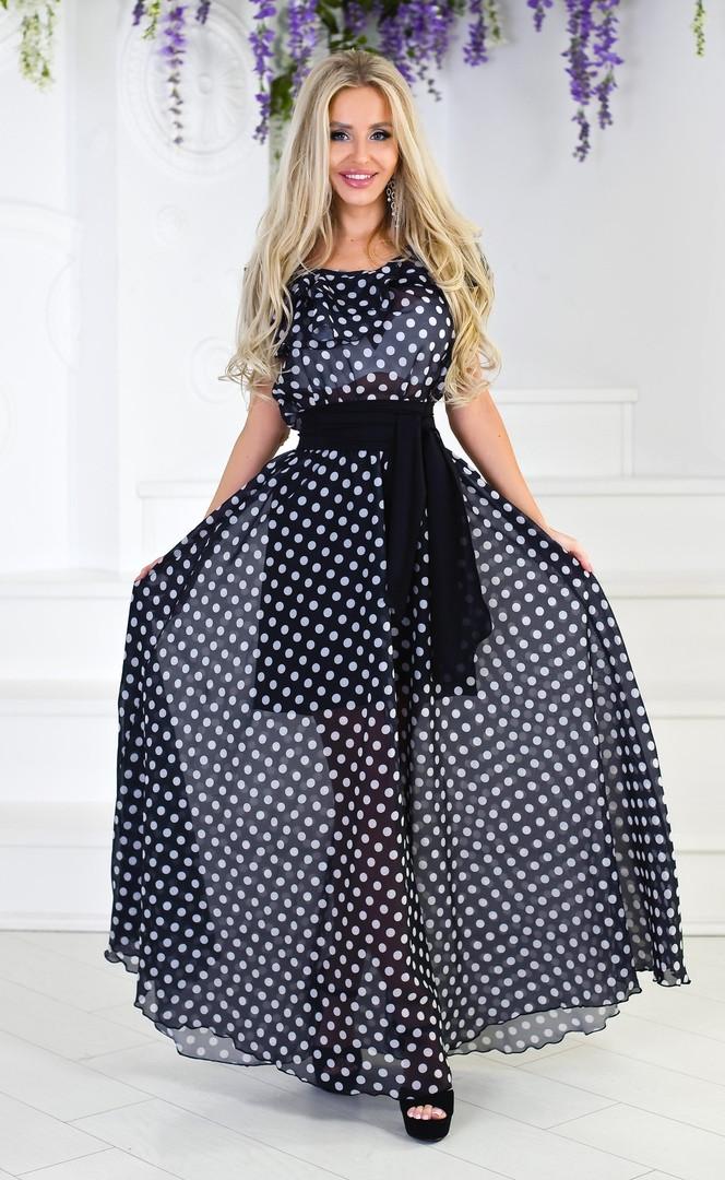 """Длинное шифоновое платье в горох """"MOLLY"""" с оборкой на плечах (2 цвета)"""