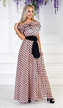 """Длинное шифоновое платье в горох """"MOLLY"""" с оборкой на плечах (2 цвета), фото 3"""