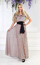 """Длинное шифоновое платье в горох """"MOLLY"""" с оборкой на плечах (2 цвета), фото 2"""