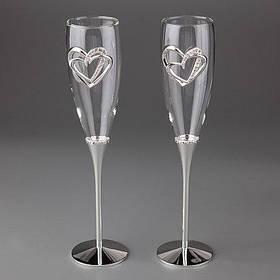 Свадебные бокалы Сердца влюбленных 005G-3