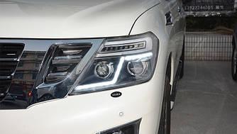 Передние фары Nissan Patrol Y62 тюнинг Led оптика (линза под ксенон)