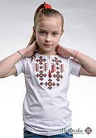 Вишита фтуболка для дівчинки білого кольору із геометричним орнаментом «Зоряне сяйво (червона)»
