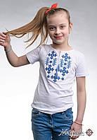Вишита футболка для дівчинки білого кольору «Зоряне сяйво (синім)», фото 1