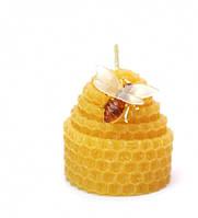"""9060001 Свеча из вощины с пчёлкой """"Яйцо"""" жёлтая"""