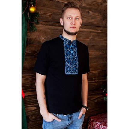 Мужская вышитая футболка цвет черный короткий рукав размер 44-56, фото 2