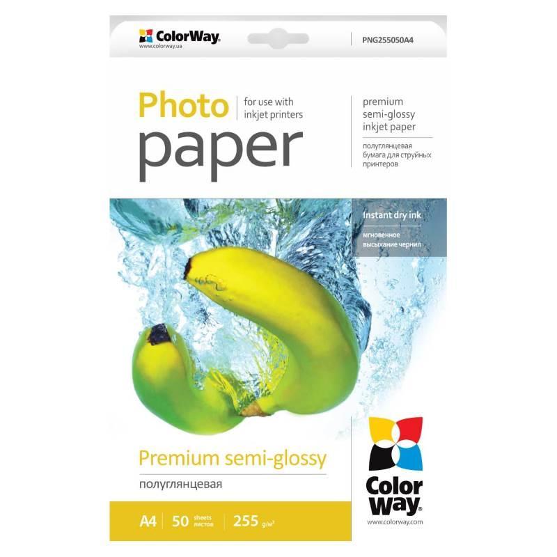 ColorWay напівглянсова фотопапір 255гр, 10x15, 50 аркушів